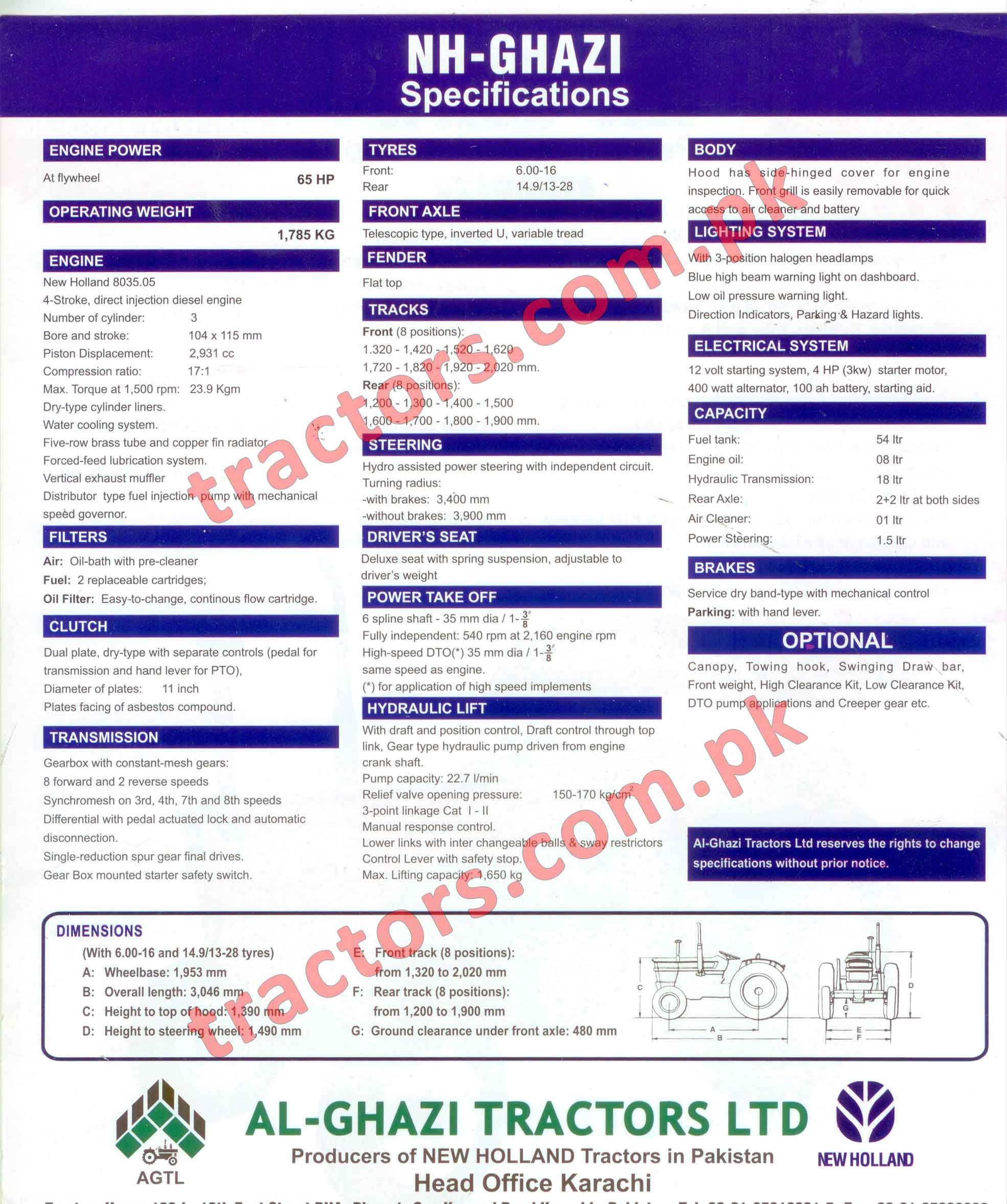 NH Ghazi Tractor 65HP Specifications 2018