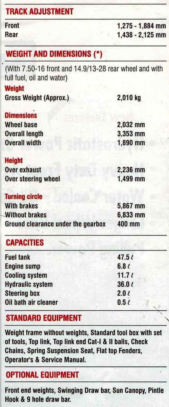 MF 360 Tractor Specifications
